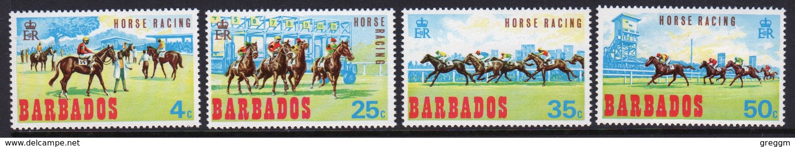 Barbados Set Of Stamps Issued To Celebrate Horse Racing. - Barbados (...-1966)