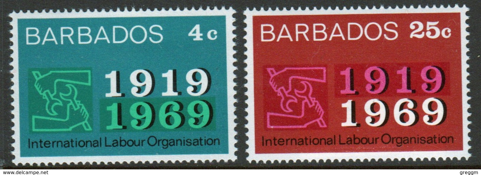 Barbados Set Of Stamps Issued To Celebrate 50th Anniversary Of International Labour Organisation. - Barbados (...-1966)