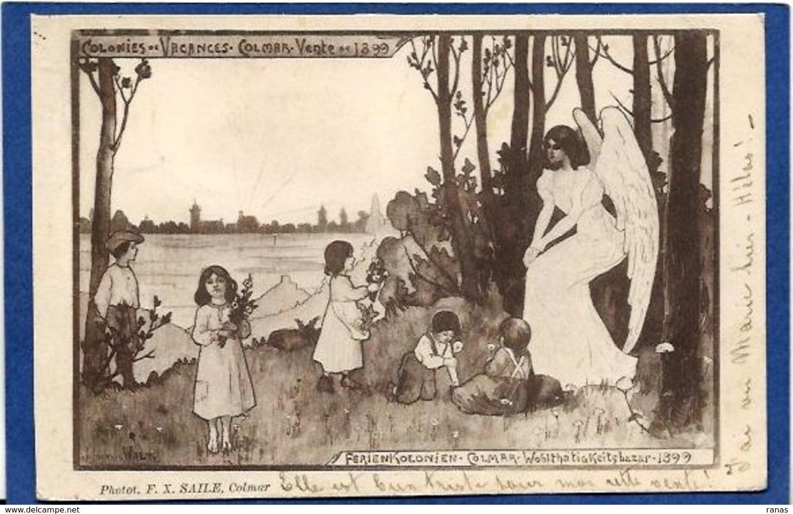 CPA Hansi WALTZ Circulé Alsace Colonies De Vacances COLMAR Circulé En 1899 Voir Scan Du Dos FX SAILE - Hansi