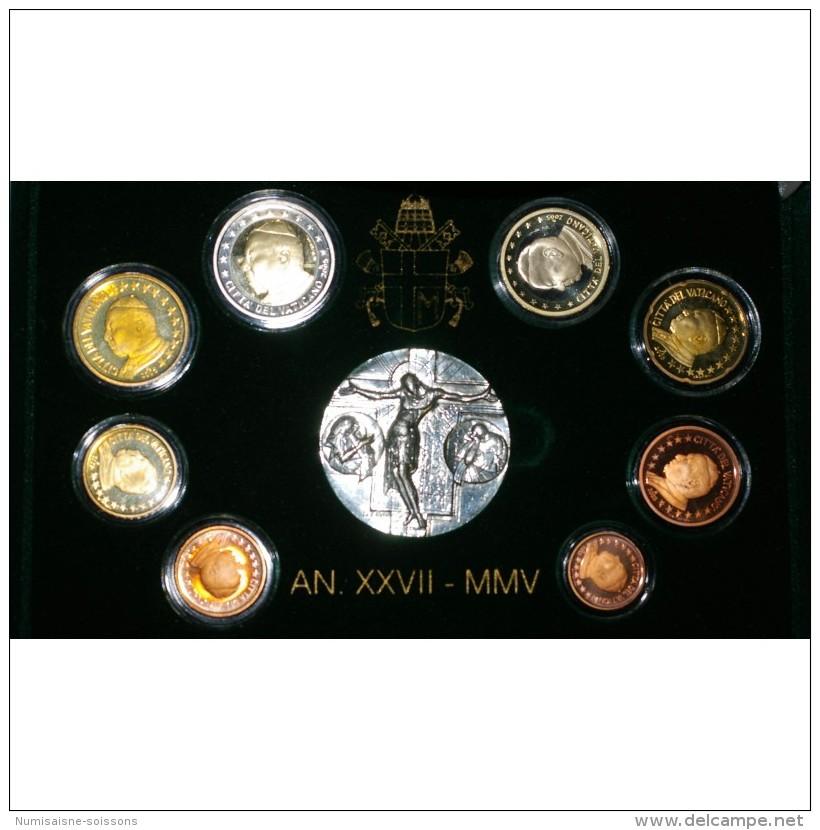 VATICAN - COFFRET EURO BELLE EPREUVE  2005 D'OCCASION -  JEAN PAUL II - 8 PIECES (3.88 Euros) + 1 MEDAILLE - - Vaticano (Ciudad Del)