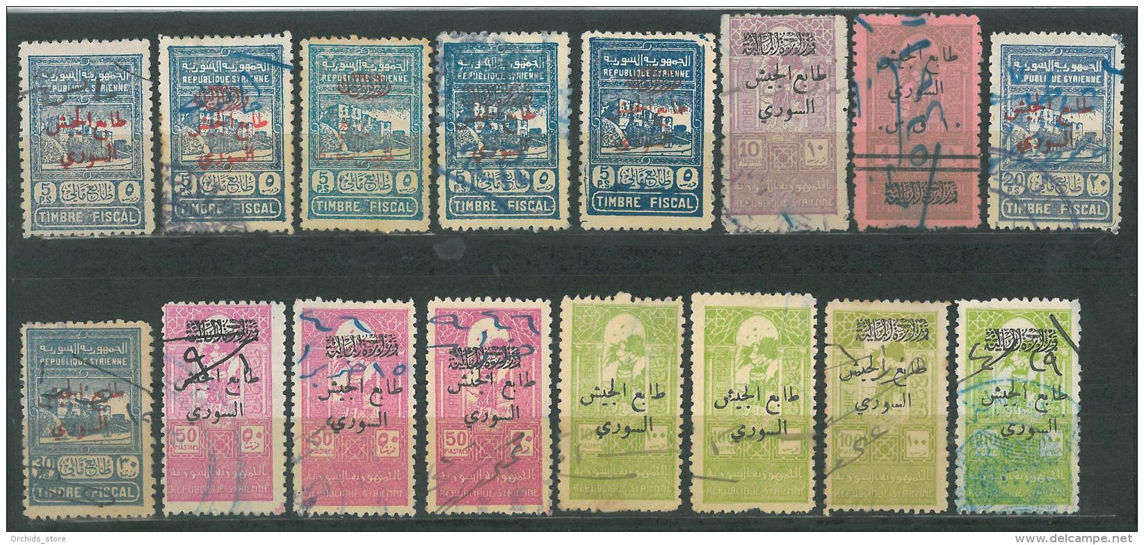 AS - SYRIA 1947-48 POSTAL TAX For The Syrian ARMY Revenue Stamps - 16 Diff - Syrië