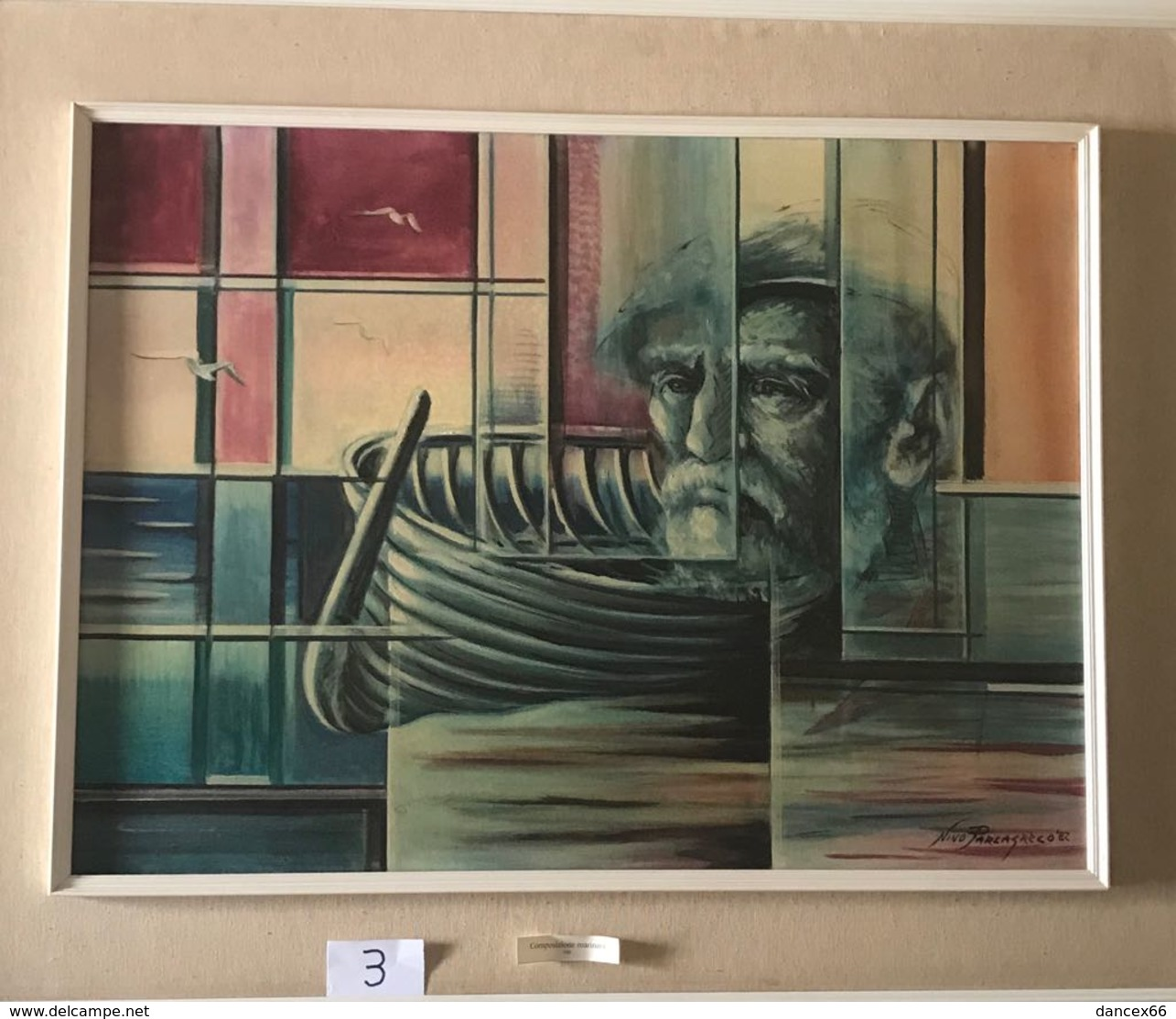 """OPERA DELL'ARTISTA NINO PARLAGRECO """"L'UOMO E IL MARE"""" NEO FIGURATIVO IN ACRILICO 80X60 - Acrilici"""