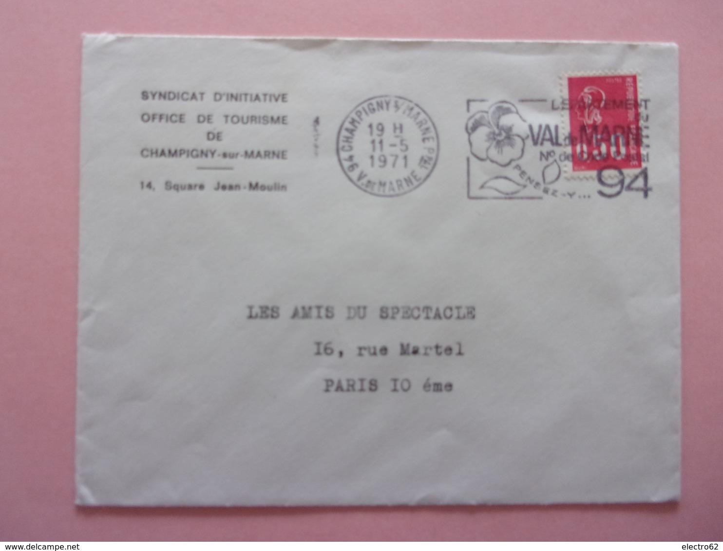 Syndicat D'initiative Champigny-sur-Marne , Val De Marne, N° De Code Postal, Fleur Pensée Marianne De,Béquet - Oblitérations Mécaniques (flammes)