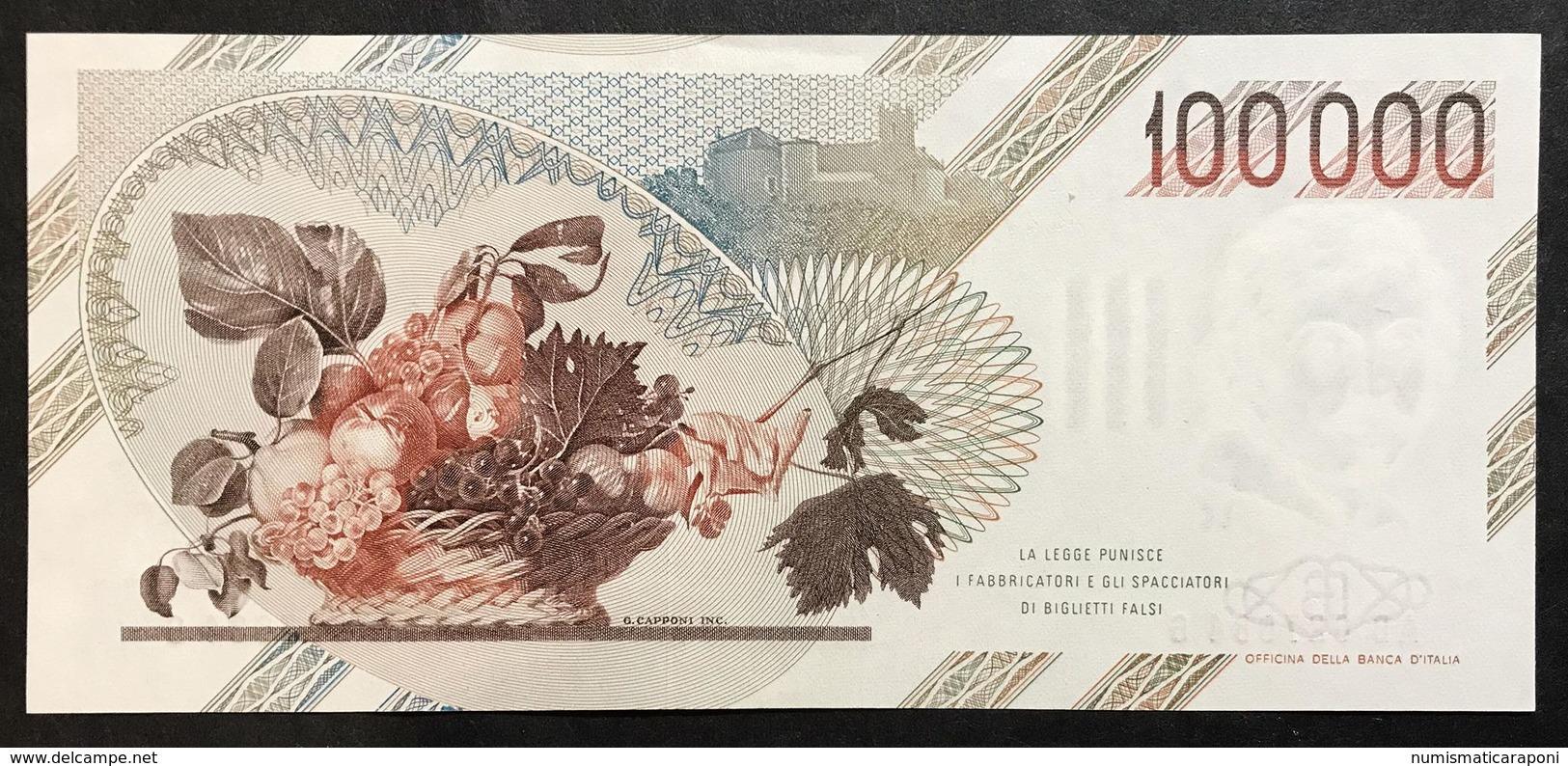 100000 Lire Caravaggio I° Tipo Serie B 1985 Q.fds Lotto.2096 - [ 2] 1946-… : Républic