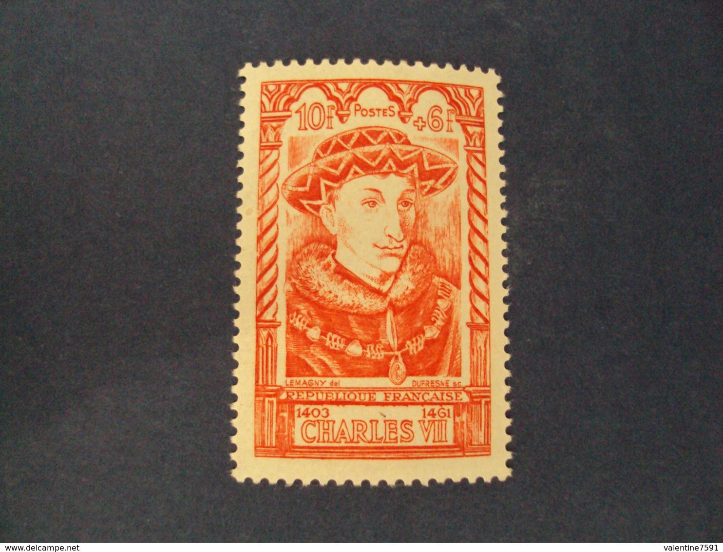 "1946-timbre Neuf N°  770 - Série Célébrités ""  CHARLES VII     ""    Côte   2.25    Net     0.75 - France"