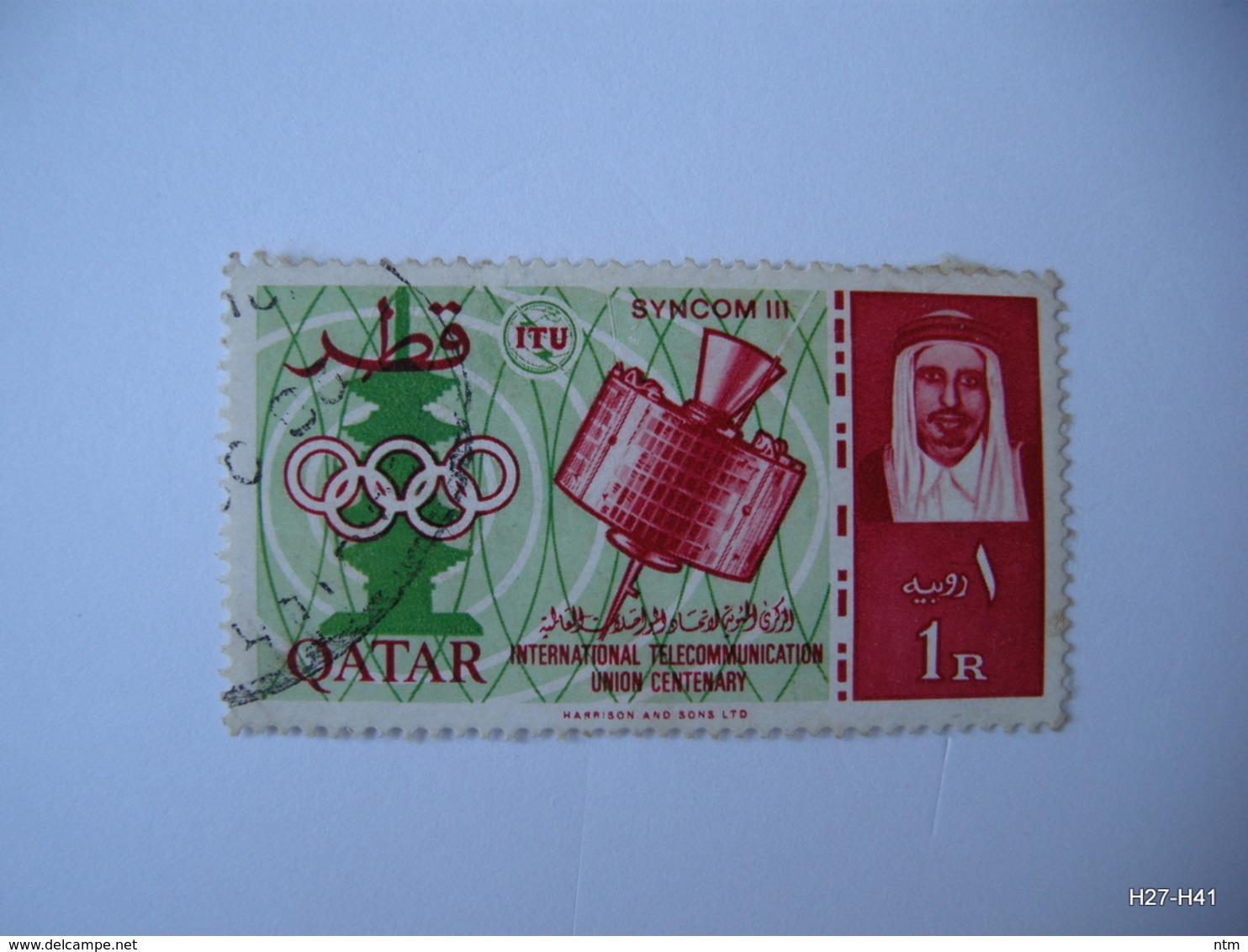 QATAR 1965.   I.T.U. Centenary, 1r. Syncom 3 And Pagoda; SG 69. Used. - Qatar