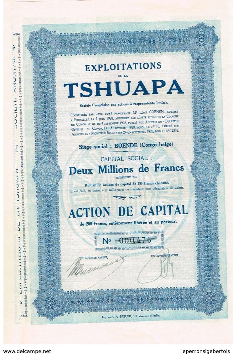 Action Ancienne - Congo - Exploitations De La Tshuapa - Titre De 1928 - Afrique