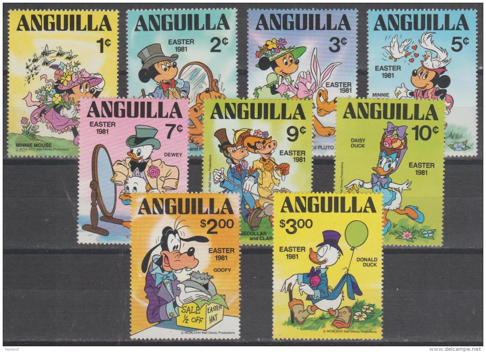 ANGUILLA -  1981 Disney - Mickey Mouse Complete Set. Scott 434-442. MNH ** - Anguilla (1968-...)