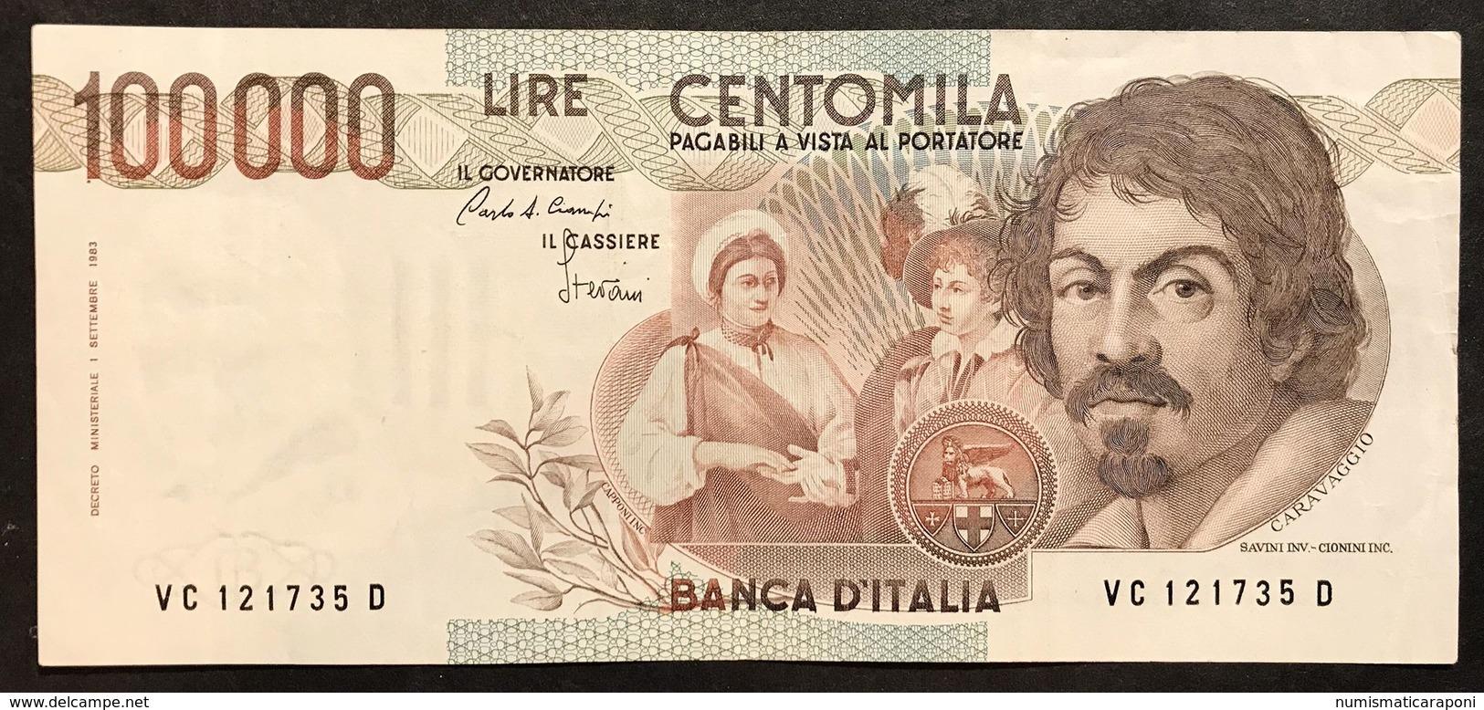 100000 Lire Caravaggio I° Tipo Serie C 1986 Bb/spl Lotto.2117 - [ 2] 1946-… : Repubblica