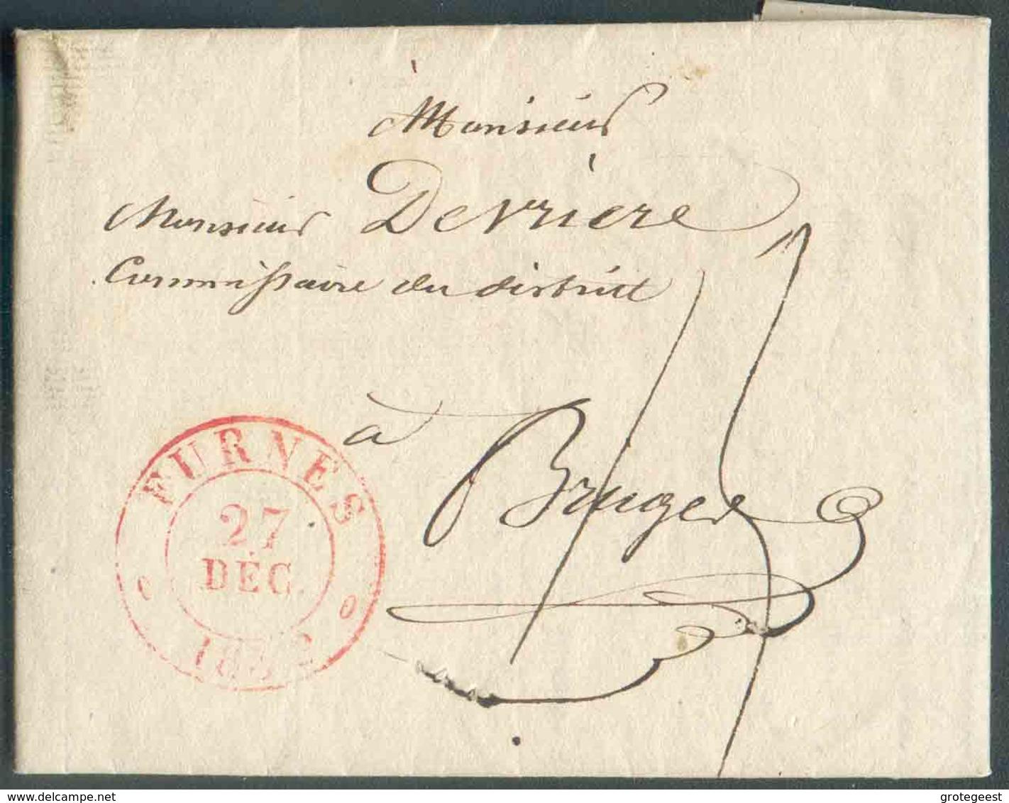 LAC D'ALVERINGHEM Via Dc Rouge FURNES Le 27 Décembre 1832 Vers Bruges; Port '15' Cents. - TB - 12978 - 1830-1849 (Belgique Indépendante)