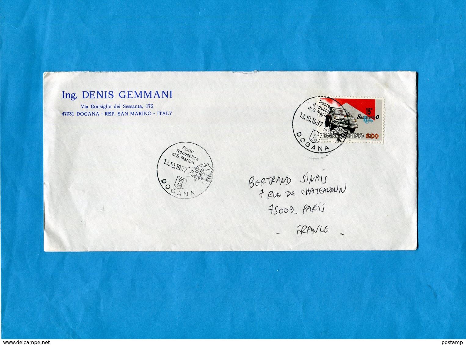 "MARCOPHILIE-lettre-Saint Marin-->Françe-cad ""DOGANA"" 1987-stamps N°1151 Auto-car- 15ème Rallye - Saint-Marin"