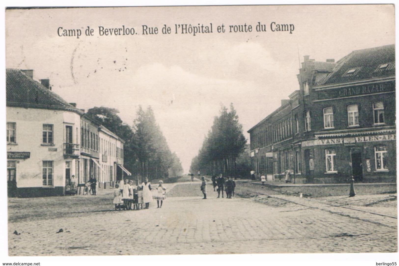 Camp De Beverloo - Rue De L'Hôpital Et Route Du Camp 1913  (Geanimeerd) - Leopoldsburg