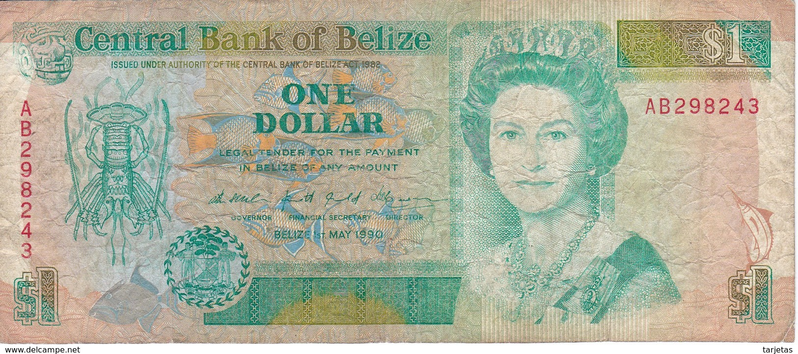 BILLETE DE BELICE DE 1 DOLLAR DEL AÑO 1990   (BANKNOTE) PEZ-FISH - Belice