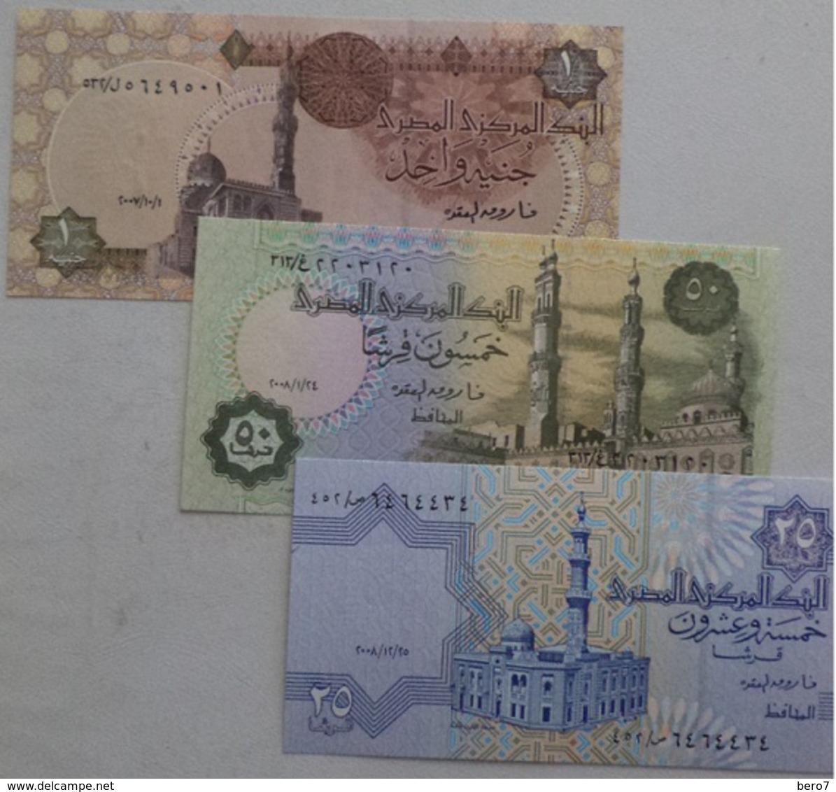 Egypt Lot 3 UNC  Banknotes 25 Pt 50 Pt 1 Pound OKDA - Egipto