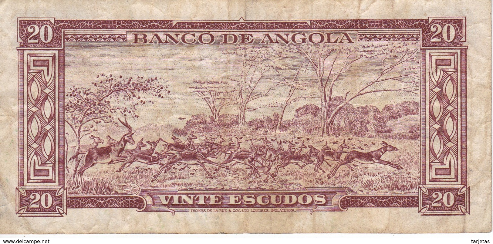 BILLETE DE ANGOLA DE 20 ESCUDOS DEL AÑO 1956 (BANKNOTE) GACELA - Angola