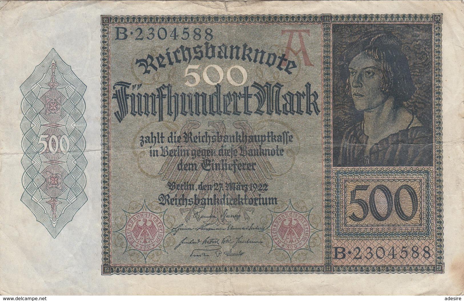 500 MARK Reichsbanknote 1922, Gebrauchsspuren, Gefaltet - 500 Mark