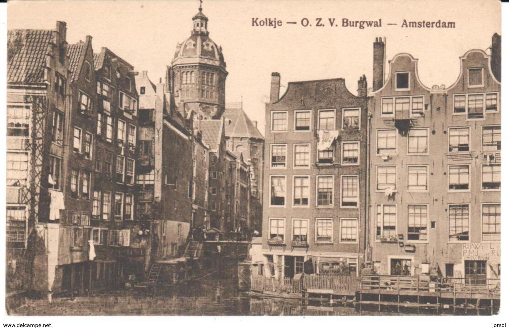 POSTAL   -AMSTERDAN  - PAISES BAJOS  KOLKJE-O.Z.V. BURGWAL-( VISTA DEL CANAL DE  KOLKJE Y  EL AYUNTAMIENTO) - Amsterdam