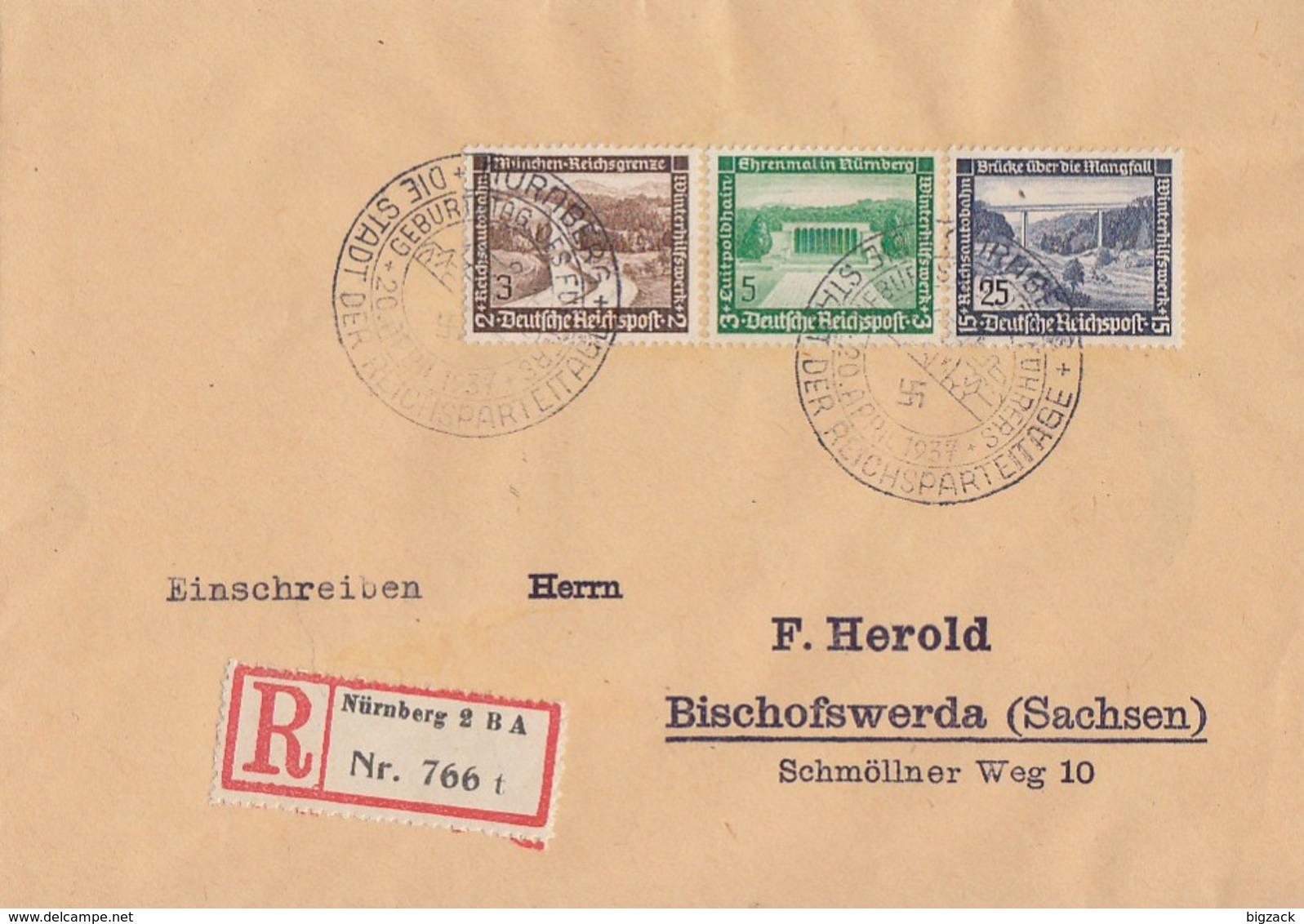 DR R-Brief Mif Minr.634,636,641 SST Nürnberg - Deutschland