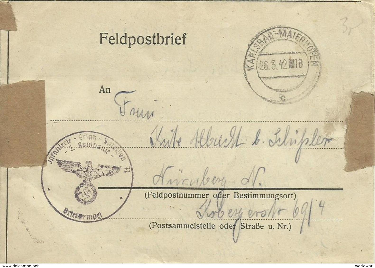 1942  Feldpostbrief Von Karlsbad-Maierhöfen (jetst Karlovy Vary) Nach Nürnberg - WW2