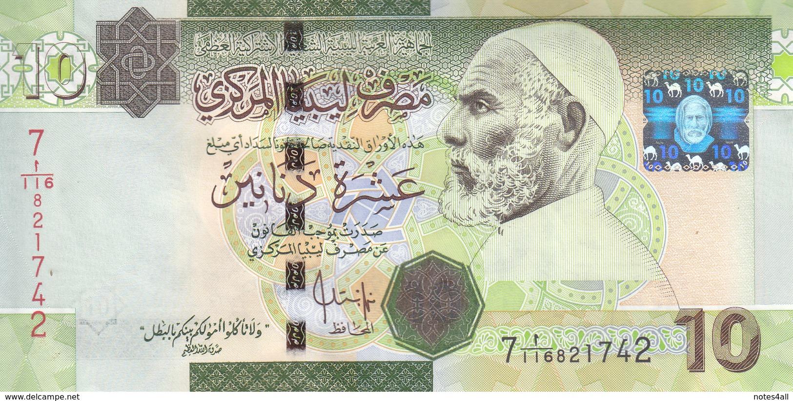 LIBYA 10 DINARS 2008 2009 P-73 SIG/7 BENGADARA UNC  */* - Libye