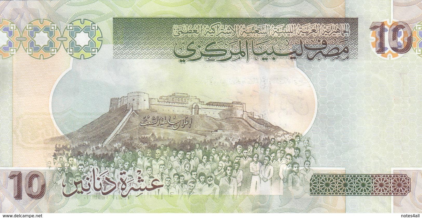 LIBYA 10 DINARS 2008 2009 P-73 SIG/7 BENGADARA UNC  */* - Libië