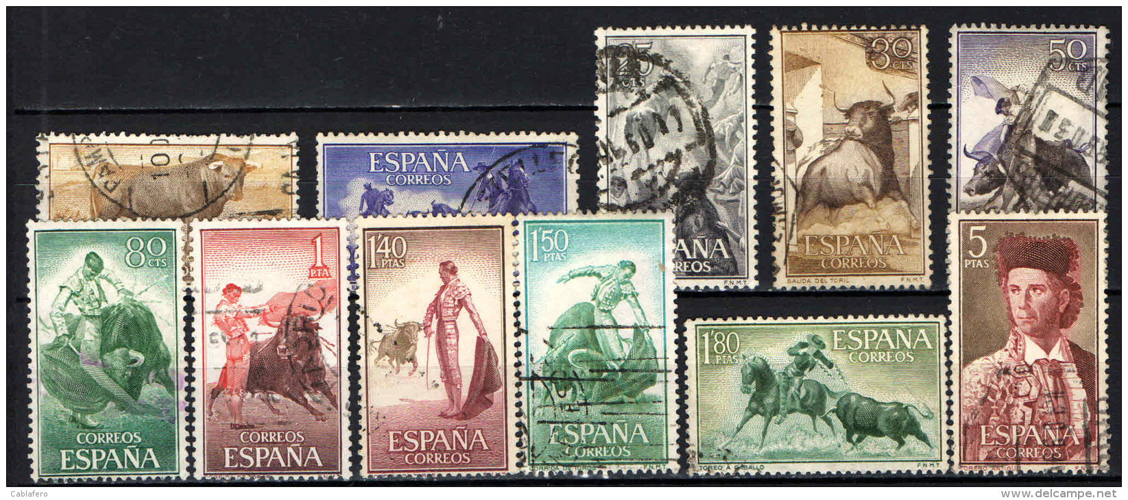 SPAGNA - 1960 - FESTA NAZIONALE - TAUROMACHIA - USATI - 1951-60 Oblitérés