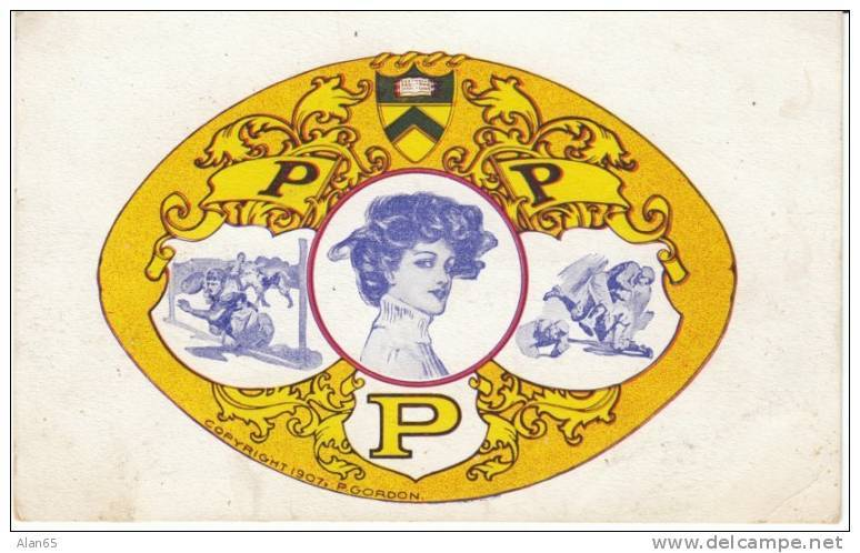 Princeton University Emblem, Beautiful Girl, Football Scenes On C1900s Vintage Postcard - Schools