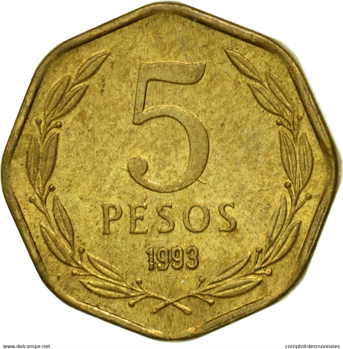 Monnaie, Chile, 5 Pesos, 1993, Santiago, TTB, Aluminum-Bronze, KM:232 - Chile
