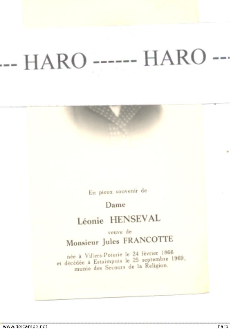 Faire-part De Décès De Mde Léonie HENSEVAL Vve De J. Francotte VILLERS-POTERIE 1866/ESTAIMPUIS 1969 (b232) - Décès