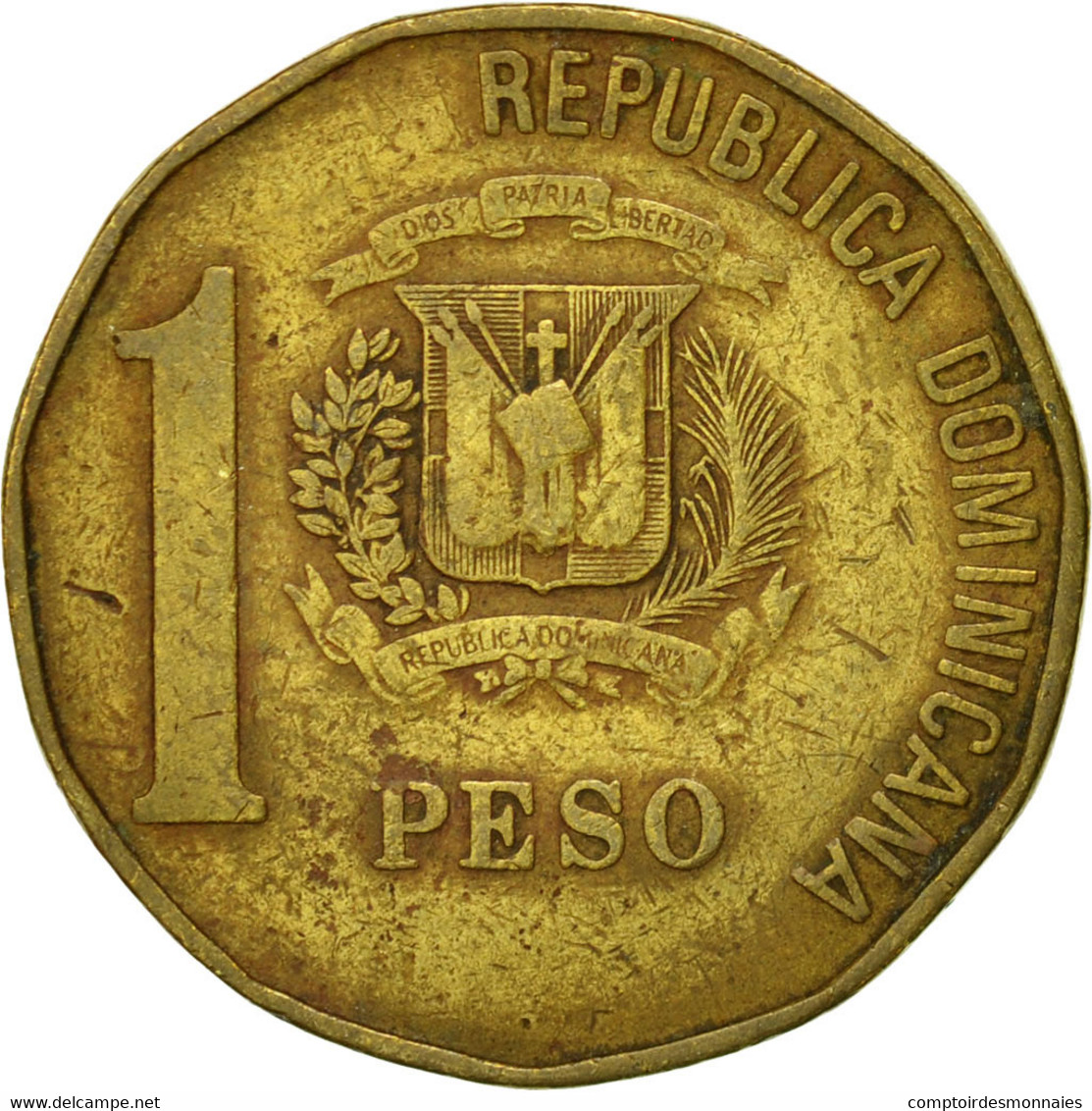 Monnaie, Dominican Republic, Peso, 1991, TTB, Laiton, KM:80.1 - Dominicaine