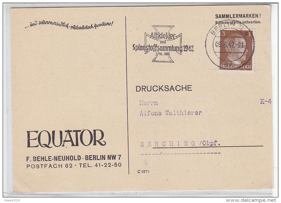 Drucksache Aus BERLIN 9.6.42 Stempel: Altkleider Und Spinnstoffsammlung 1942 .. Nach BERCHING - Deutschland