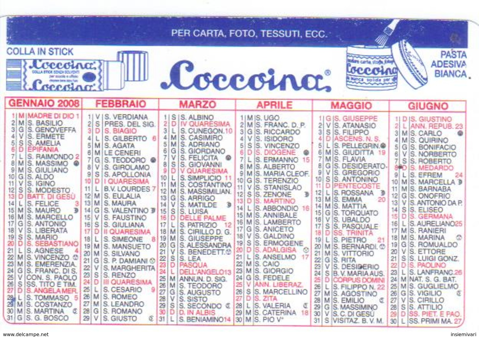 Advertising-pubblicità Su CALENDARIETTO TASCABILE 2008 Prodotti Per Ufficio - Calendari