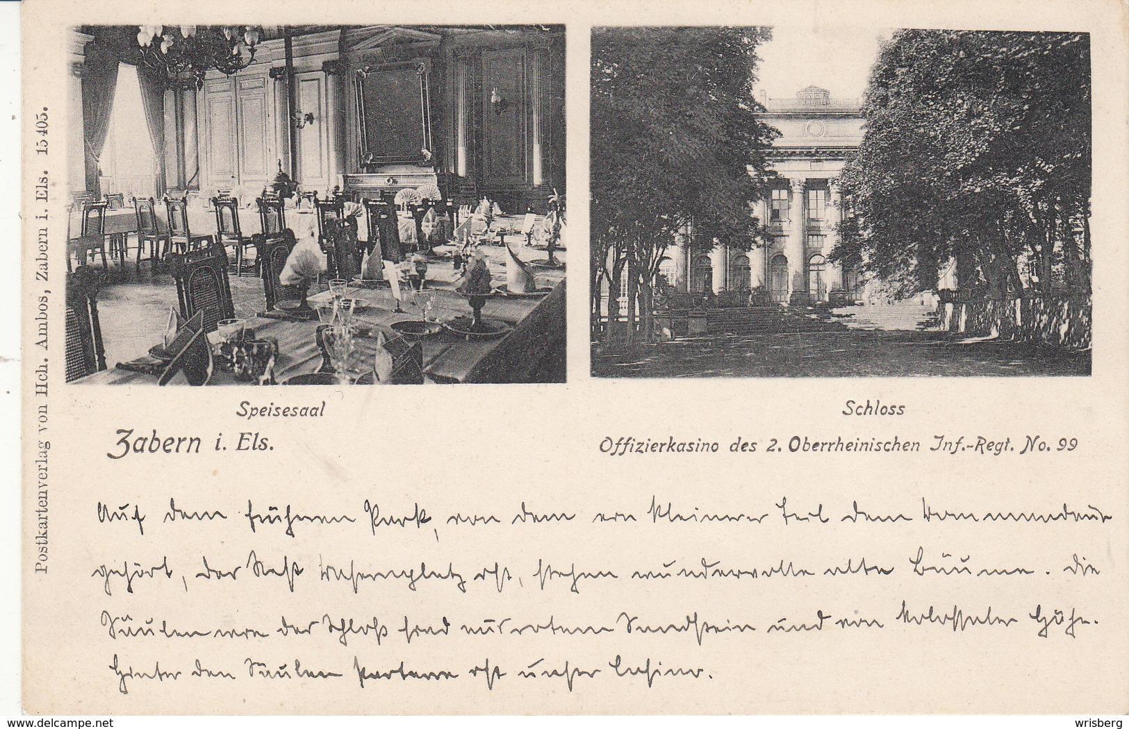 Zabern I. Els - Offizierkasino Des 2. Oberrheinischen Inf Regt No 99 - Poststempel (Briefe)