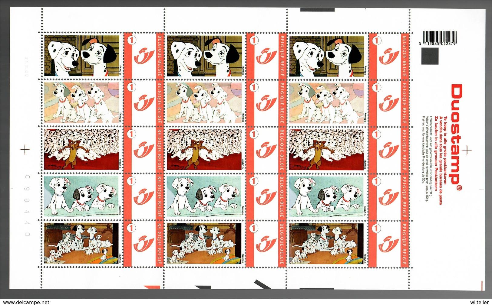 België/Belgique Duostamp 2008 Disney 101 Dalmatiens - Feuilles Complètes