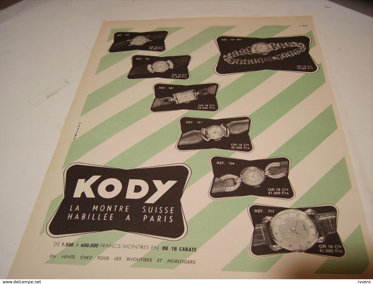ANCIENNE PUBLICITE MONTRE KODY 1952 - Autres