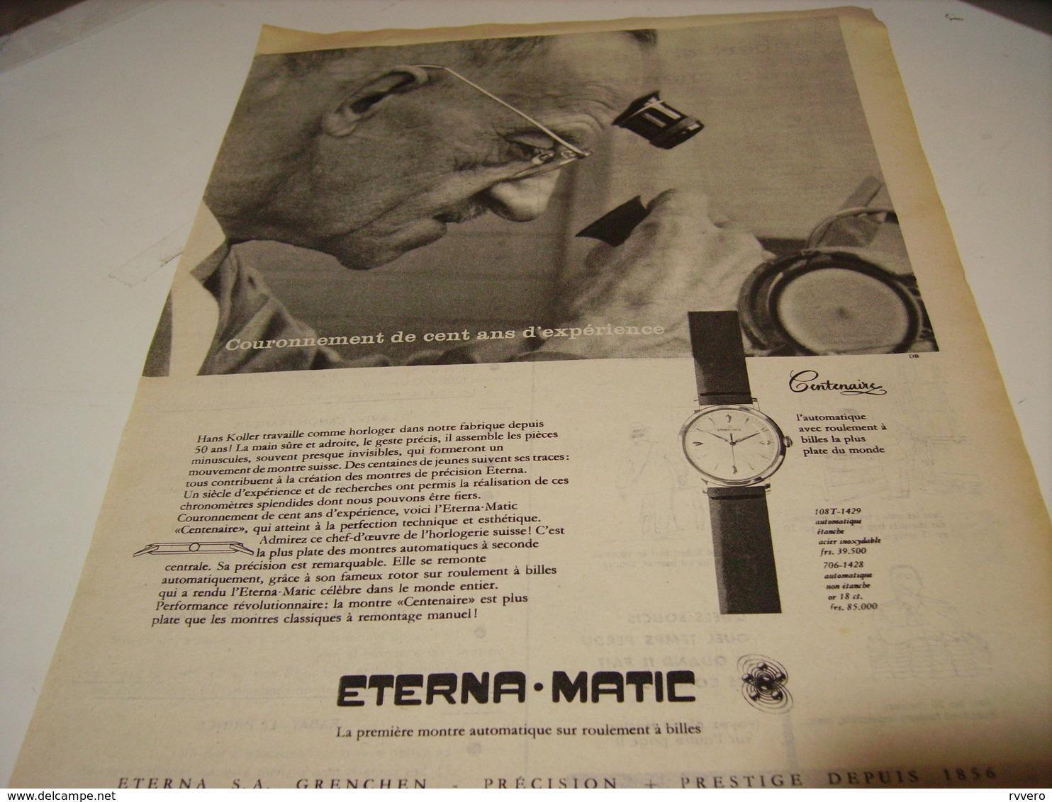 ANCIENNE PUBLICITE MONTRE ETERNA.MATIC 1956 - Autres