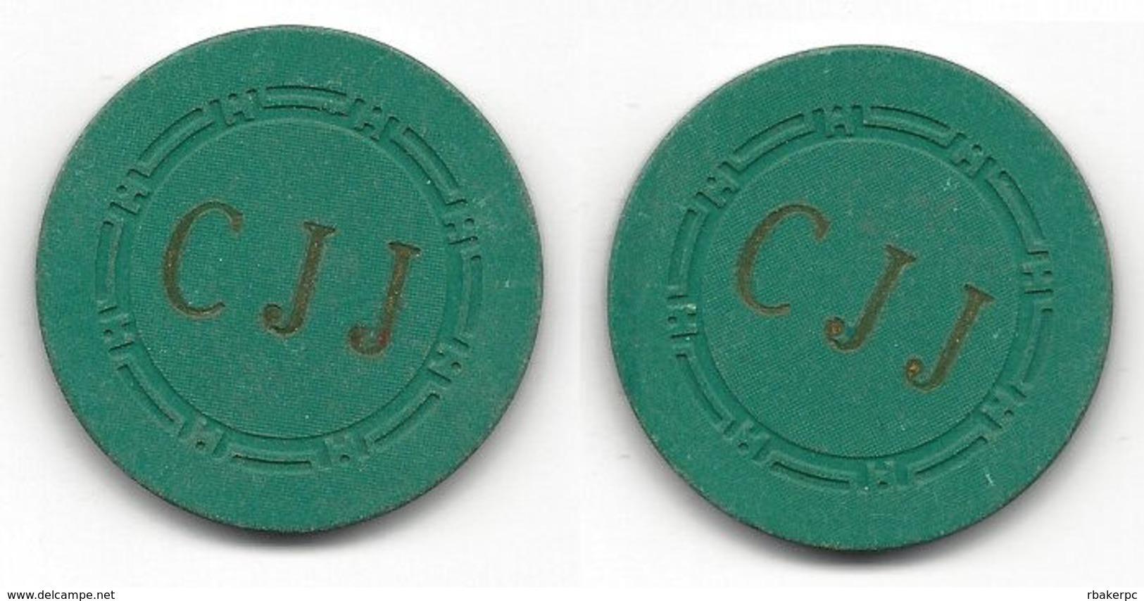 Plain Green Chip With CJJ Initials - Casino