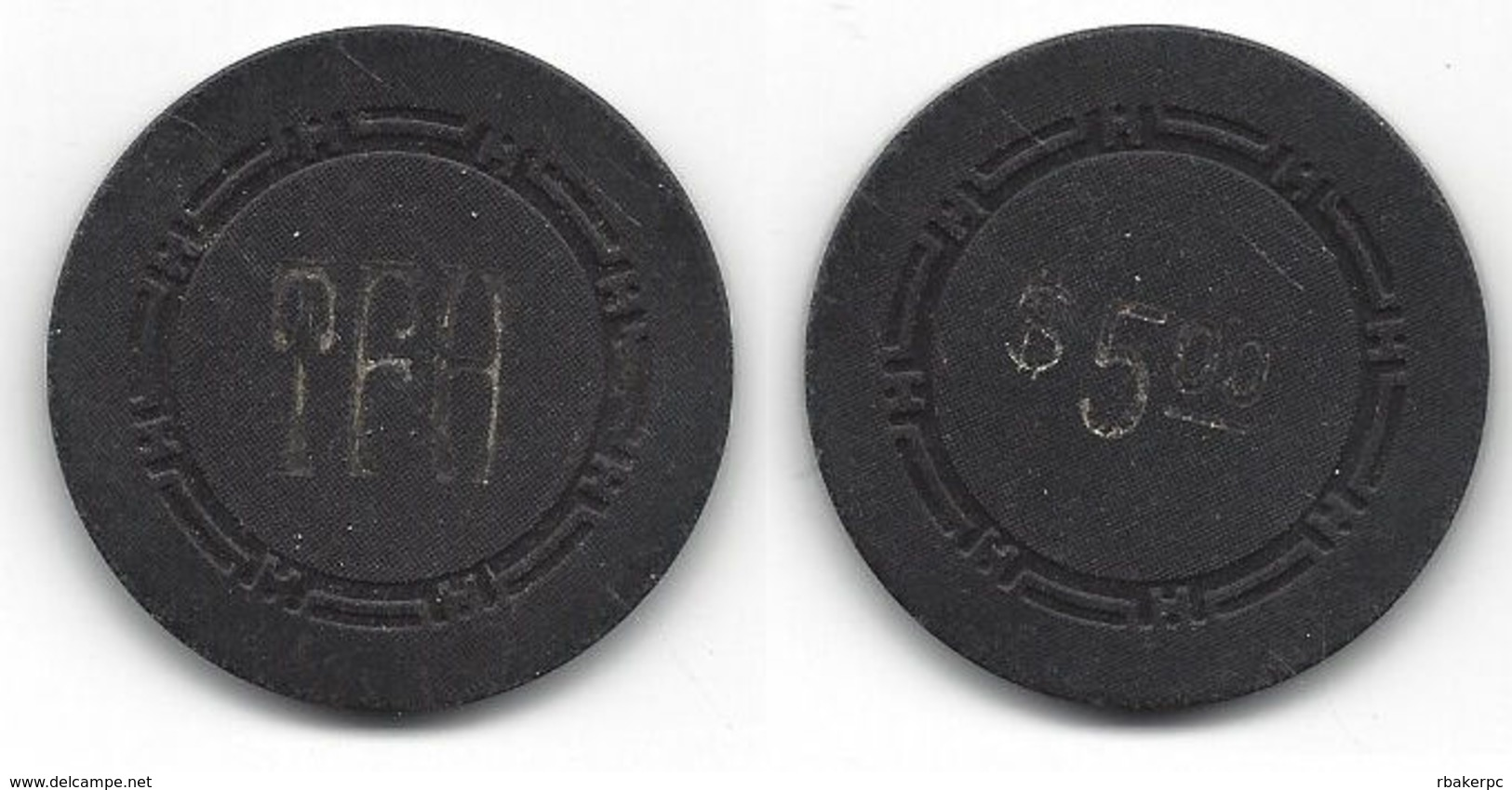 Plain Black Chip With TFH Initials - Casino
