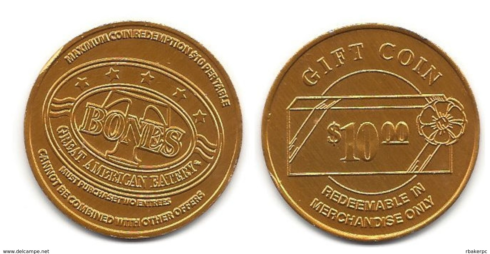 T Bones Great American Eatery $10 Gift Coin - USA