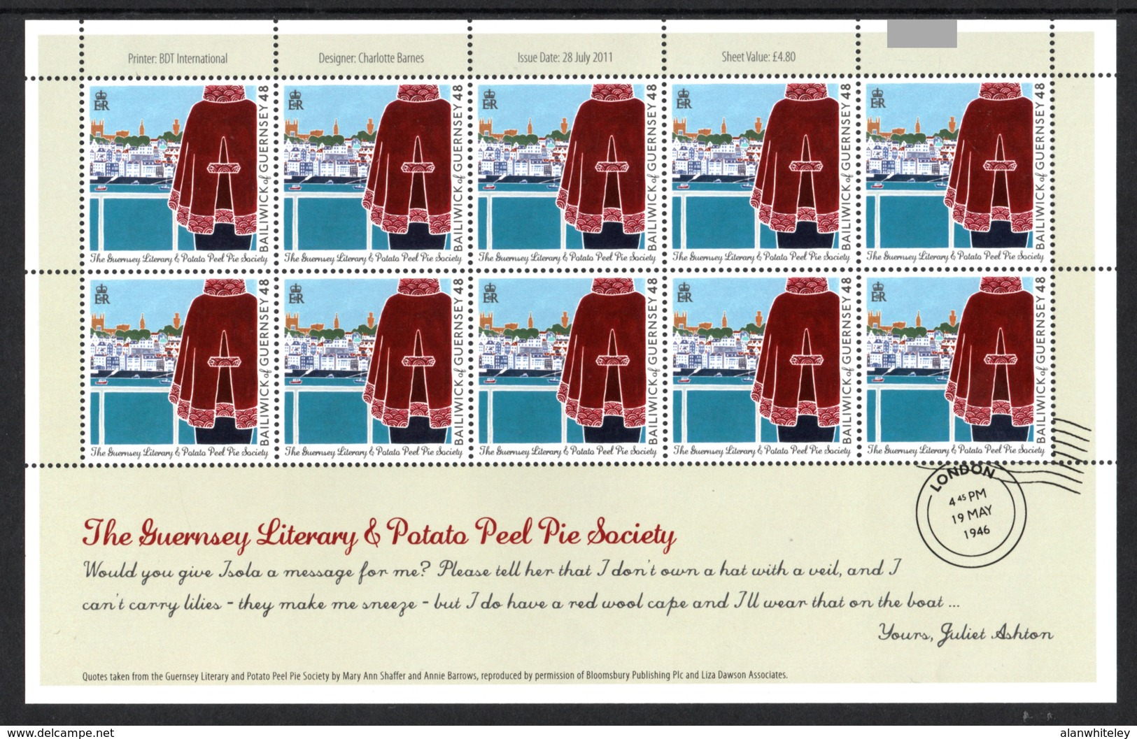 GUERNSEY 2011 Guernsey Literary & Potato Peel Pie Society: Set Of 6 Sheets UM/MNH - Guernsey