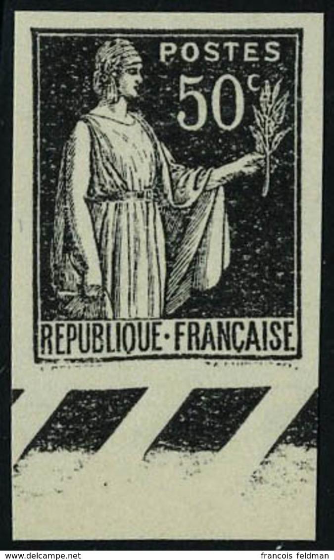 Neuf Sans Gomme N° 283, 50c Paix Type I Noir Sur Papier épais, ND, Bdf, T.B. - Timbres