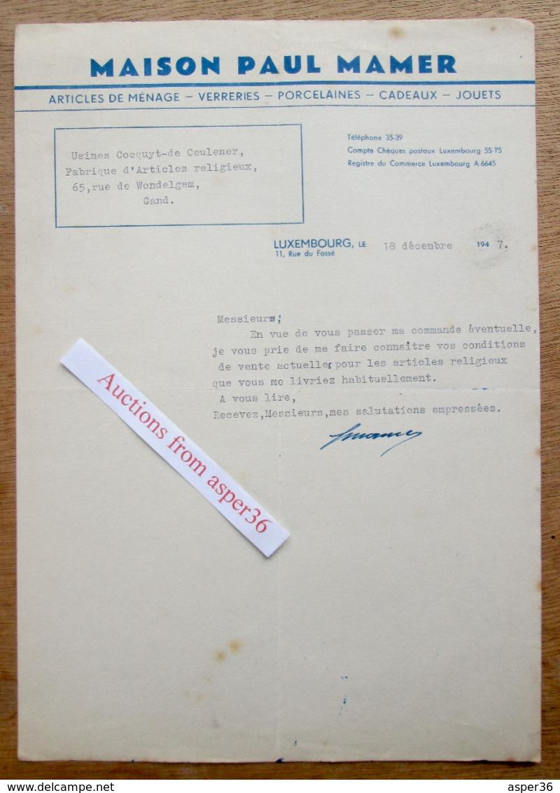 Articles De Ménage, Jouets, Porcelaines, Maison Paul Mamer, Rue Du Fossé, Luxembourg 1947 - Luxemburgo