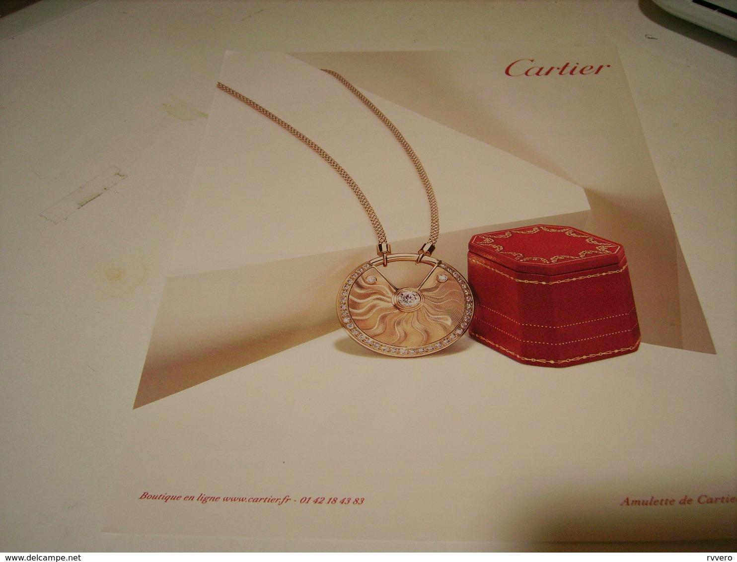ANCIENNE PUBLICITE JOAILLIER  CARTIER ALULETTE - Bijoux & Horlogerie