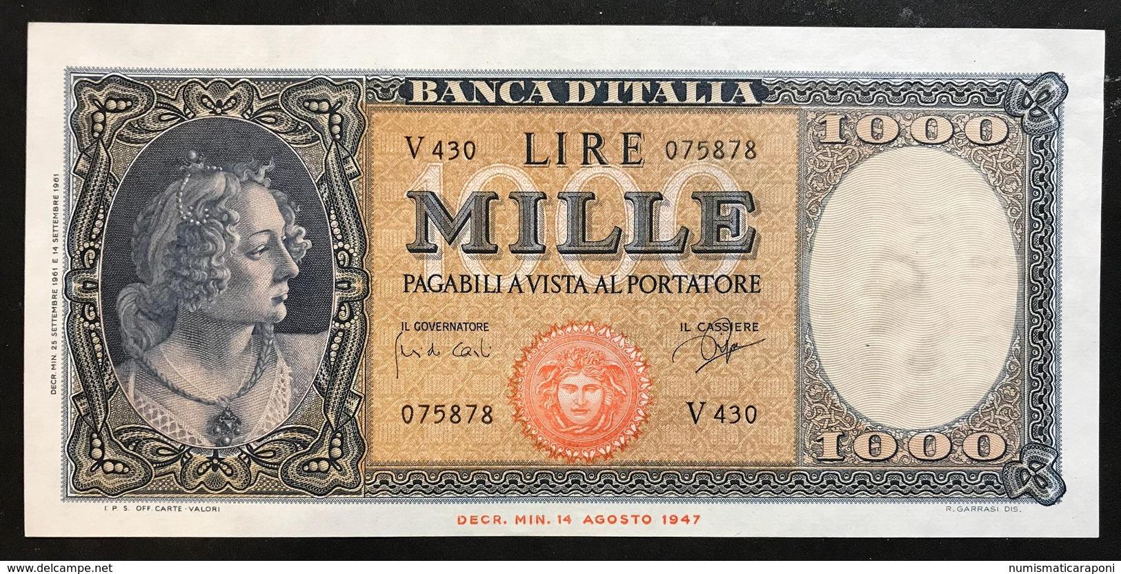 1000 LIRE ITALIA MEDUSA 25 09 1961 Q.fds LOTTO 2138 - [ 2] 1946-… : République