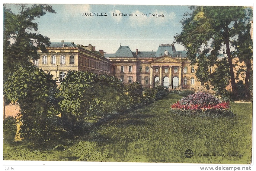 ***  54  ***    LUNEVILLE  Le Château Vu Des Bosquets TB(issu De Carnet Petite Echancrure) écrite - Luneville