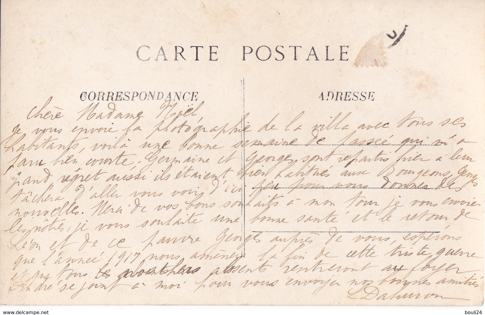 CARTE PHOTO CIRCULEE  VILLA  LES  BOURGEONS  A SITUER - Cartes Postales