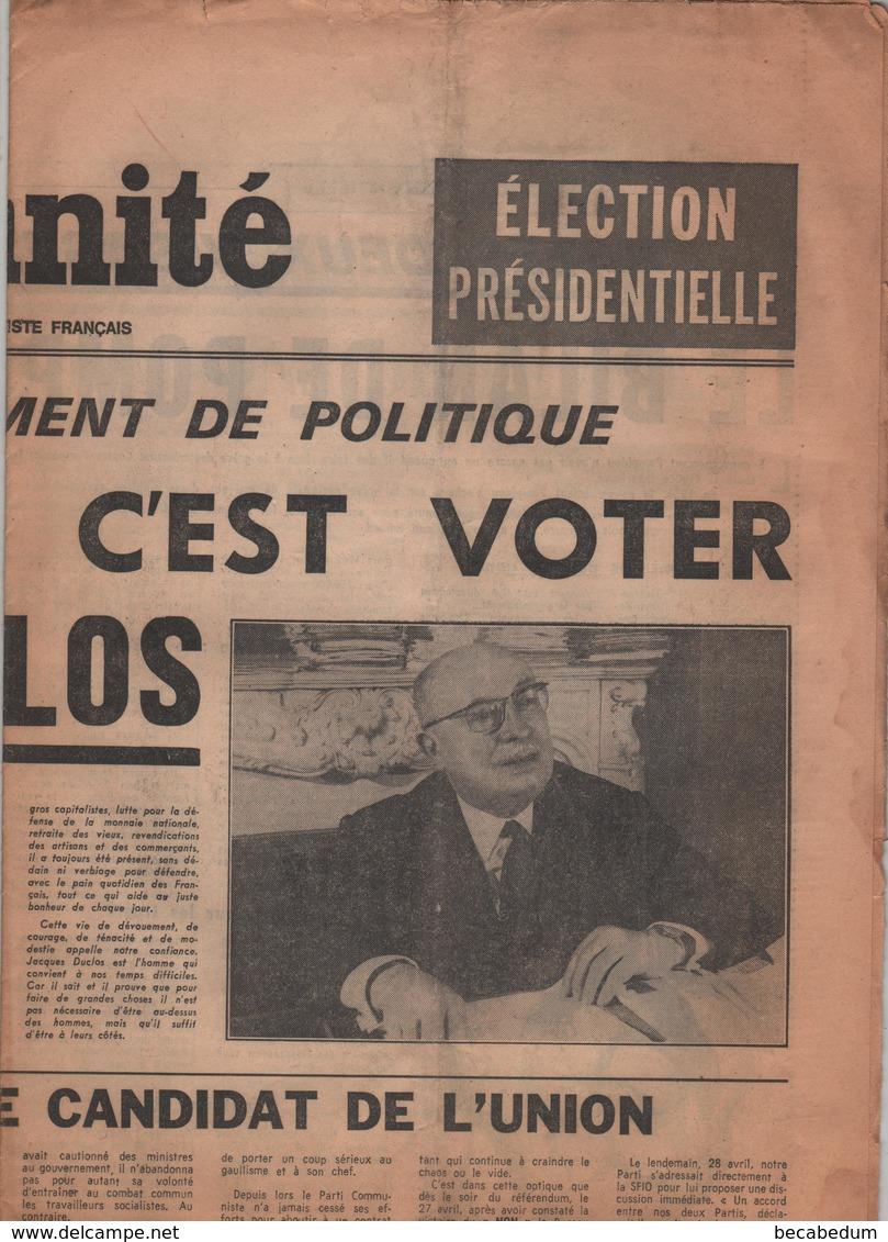L'Humanité Jacques Duclos Supplément Jeudi 15 Mai 1969 - Zeitungen