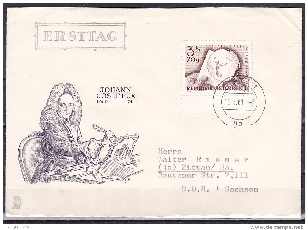 Austria/1960 - Stamp Day/Tag Der Briefmarke - 3 S + 70 G - FDC Cover 'GRAZ 1 10.3.61' - FDC