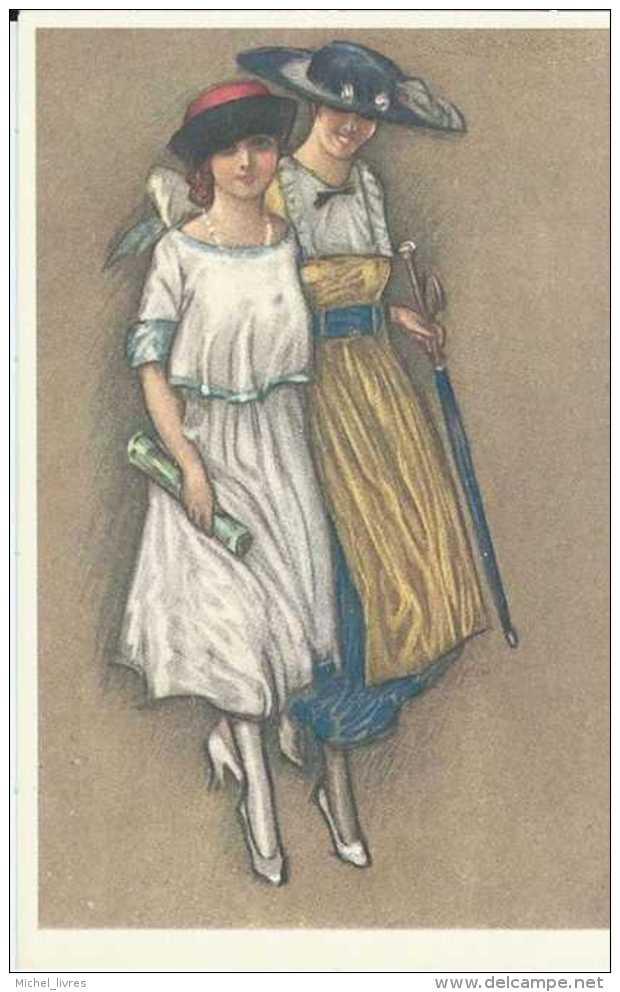Aquarelle - Repro - Illustrateur à Déterminer - Femmes Marchant - Pas Circulé - TBE - 1900-1949