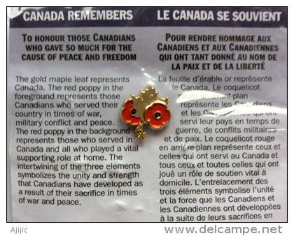 """CANADA:""""Vétérans Canadiens"""".Hommage à Ceux Tombés à La 1 ère Guerre Mondiale. Pin Officiel:Feuille D'érable & Coquelicot - WW1 (I Guerra Mundial)"""